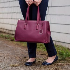 Tumi Ana Large Double Zip Carryall in Burgundy